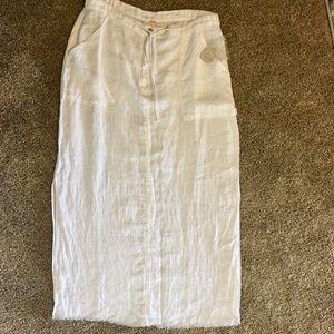 Free People white linen maxi skirt